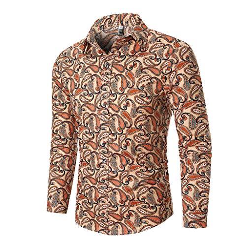 ITISME Herren Top Slim Fit Hemden, 2019 Herbst Winter Business Slim Fit Oversize Shirt Herren Herbst Ethnic Business Leisure Printing Langarm Shirt Top Bluse Urlaub Basic Hemd Weiß Sale