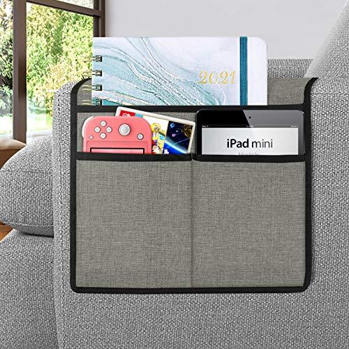 Joywell Sofa-Armlehnen-Organizer, Fernbedienungshalterung für Liegestuhl, Sessel-Caddy, mit 3 Taschen für Zeitschriften, Tablet, Telefon, iPad, Hellgrau
