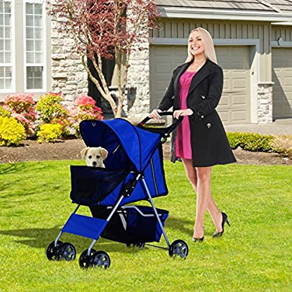 PawHut Pet 4 Wheels Travel Stroller Dog Cat Pushchair Trolley Puppy Jogger Folding Carrier (Blue) 5
