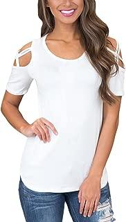 AlvaQ Women Summer Short Sleeve Strappy Cold Shoulder T-Shirt Tops Blouses (S-XXL)