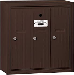 Salsbury Industries 3503ZSU Surface Mounted Vertical Mailbox with USPS Access and 3 Doors, Bronze