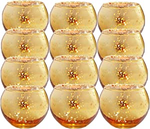 "Gbateri 12 Pack Speckled Gold Votive Candle Holders,Round Mercury Glass Tealight Candle Holders 2"" H for Home, Parties, and Wedding Decor(Gold)-Tea Light Candles not Included"