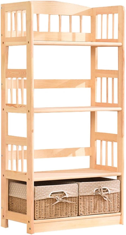 QIANGDA Multilayer Bookshelf Wooden Bookrack Floor Standing Storage Rack shoes Flower Shelf, 3 colors Optional (color   Wood color, Size   4 Tiers)