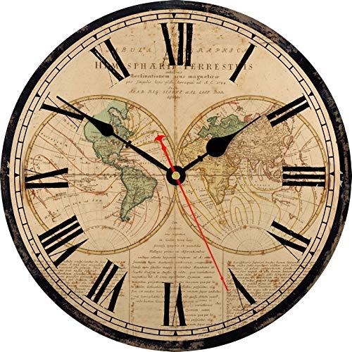 TAHEAT Mapa del Mundo Reloj de Pared, Grande Clásico De Madera Relojes Silencio Sin tictac Fácil de Leer para casa/ Oficina/ Colegio, 34 cm