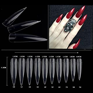 AORAEM 500pcs Stiletto Nail Tips Long Shape Clear Half Cover False Nail Art Tips 10 Size with Bag