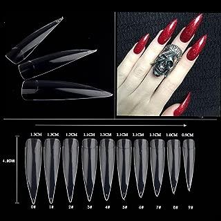 AORAEM 500pcs Stiletto Nail Tips Long Shape Clear Half Cover False Nail Art Tips 10 Size with Bag