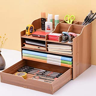 Office Wooden File Sorter, Document Desk Tidy Organiser Storage Rack Tray Holder Office Stationery Supplies for A4 Papers,...