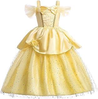 فستان أميرة ورود صفراء للبنات الصغار فستان بدون كتف ذو طبقات