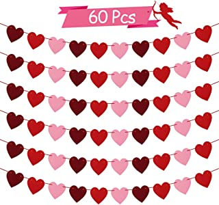 Heart Felt Garland for Valentines Day Decorations - NO DIY - Red, Rose Red, Pink Heart Banner for Valentines Day Decor - Valentines/Anniversary/Wedding/Birthday Party Supplies