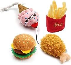 Tuska 4 piezas juguetes para perro, simulación de helado patatas fritas, hamburguesa, pollo, forma de pata, juguetes para jugar interactivo.