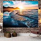 YDyun Tapiz, decoración de Dormitorio, Alfombrilla para Yoga, Toalla para Playa, Tapiz de Playa de Tela Colgante de Paisaje Junto al mar