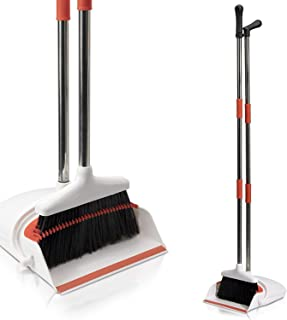 Primica Broom and Dustpan Set - Self-Cleaning Broom Bristles - Ideal Kitchen, Home and Lobby Broom and Dustpan Combo - Premium Brush, Wisp and Dust Cleaner