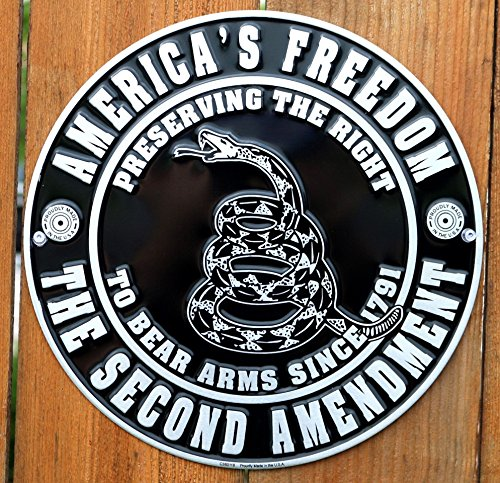 """Collectible Badges America's Freedom the Second Amendment 12"""" Metal Circle Sign"""