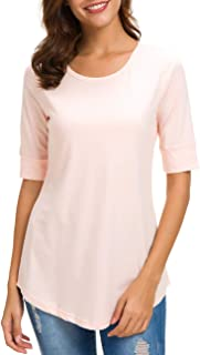 nordicwinds Womens Cotton Tops Casual Fitted T Shirt Half Sleeve Tee