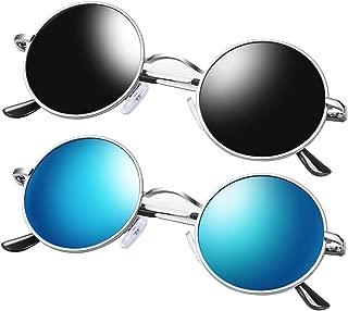 Round Polarized Sunglasses for Men and Women, Vintage John Lennon Sunglasses Metal Frame (2 Pack)