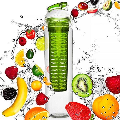 #DoYourFitness Trinkflasche mit Früchtebhälter Fruchteinsatz 800ml | Wasserflasche/Sportflasche für Fruchtschorlen/Gemüseschorlen | 100% Auslaufsicher | Spülmaschinen geeignet in Grün
