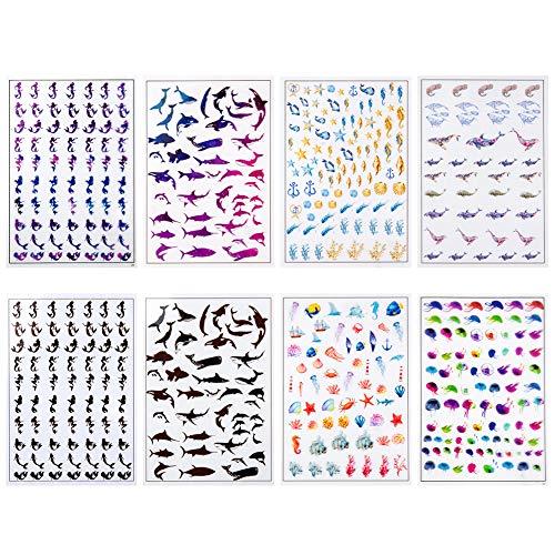OLYCRAFT 8 feuilles Films Décoratifs en Résine Feuilles D'Image Transparentes pour Feuilles de Plastique Imprimées en Résine Sea World, Sirène, Baleine, Coquille