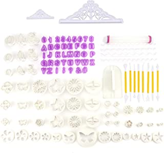 Tebery Fondant Tools 110pcs Fondant Cutter Cake Decorating KitSugarcraft Icing Decorating Flower Modelling Tools
