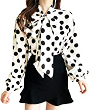 Women Tie-Bow Neck Sheer Classic Retro Polka Dot Blouse