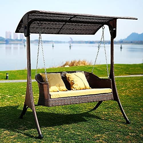 ZDYLM-Y 2-Sitzer Hollywoodschaukel, hochwertige Garten Rattan Baldachin Veranda Schaukel mit bequemem Kissen und 2 Kissen, für Patio, Garten