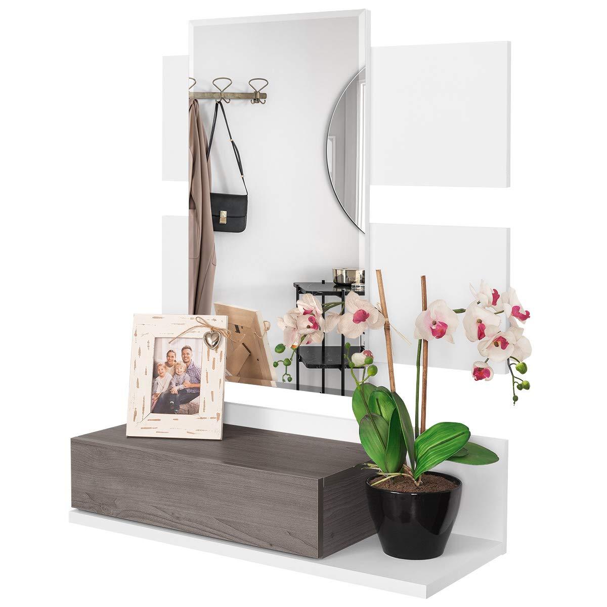 COMIFORT Recibidor Colgante - Mueble de Entrada con Cajón, Espejo ...