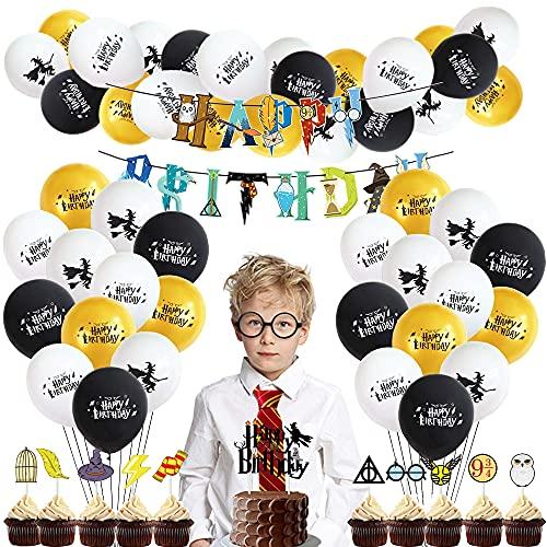 Mago Cumpleaños Fiesta Decoracion Temática Corbata Gafas Banner De Feliz Cumpleaños Mago Globo Halloween Fiestas Suministros Para Niños Niños Niñas