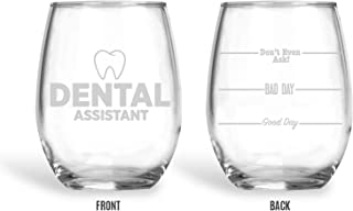 BadBananas Dental Assistant Gifts - Good Day, Bad Day, Don't Even Ask 21 oz Engraved Stemless Wine Glass w Faux Leather Coaster - Funny Gag Gift Ideas