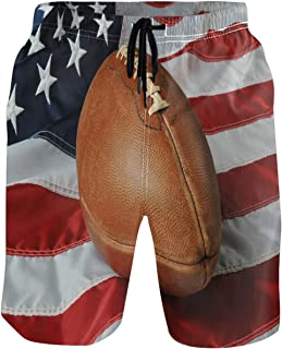 Kaariok Patriotic Football American USA Flag 4 Th of July Men`s Swim Trunks Quick Dry Shorts with Pockets