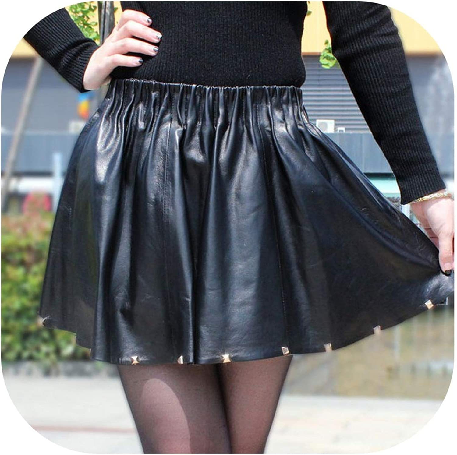 Try My Best dress Women Luxury Genuine Leather Pleated Skirt Elastic High Waist Sexy Club Party Mini Short Skirts