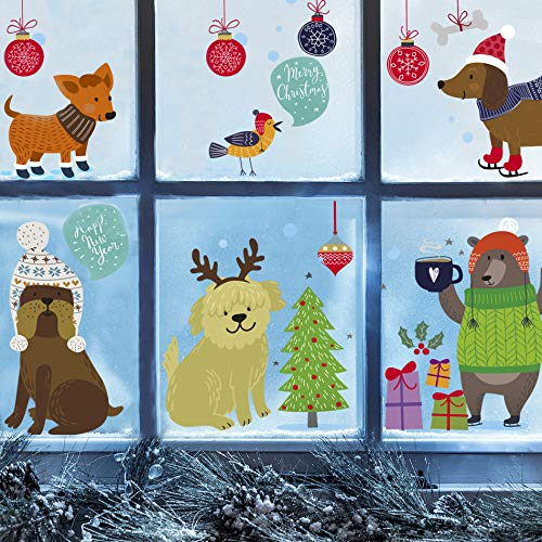 Dogs Wall Decals for Kids - Cute Animal Decorations Stickers Window Clings Ornaments - Nursery Decor [30 Art Decals] with Free Bird Gift!