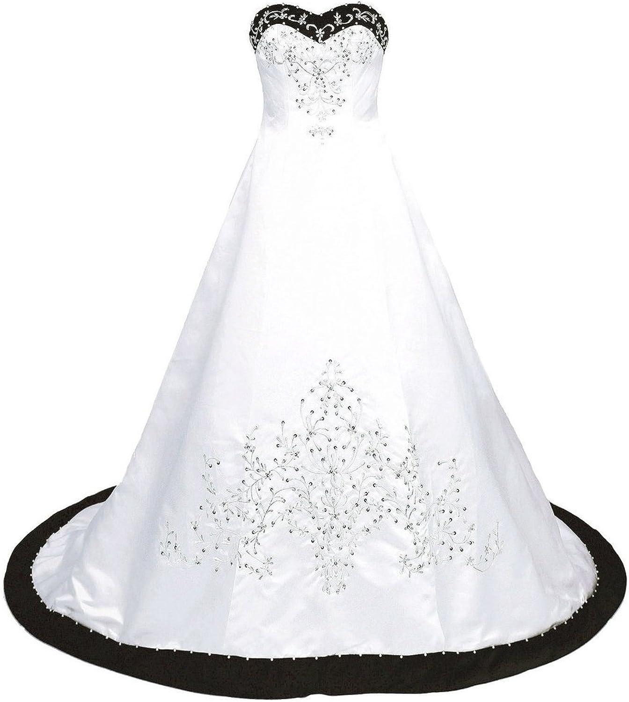Snowskite Women's Sweetheart Embroidery Satin Beading Wedding Bridal Dress