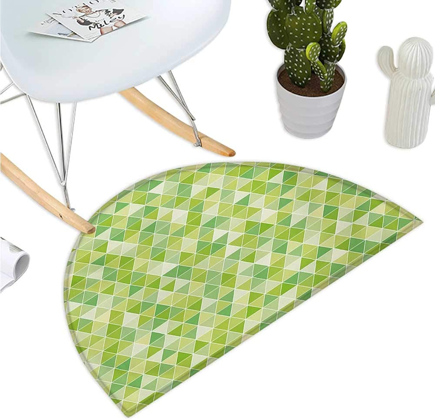 Lime Green Semicircular Cushion Triangles Geometry Figures Modern Digital Pyramids Soft Icons Graphic Entry Door Mat H 47.2  xD 70.8  Pale and Fern Green