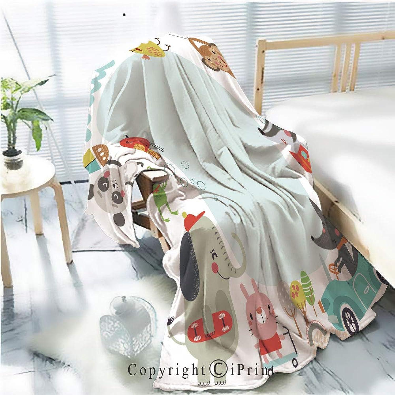 Printed Soft Blanket Premium Blanket,Cute Kids Background Microfiber Aqua Blanket for Couch Bed Living Room,W59.1 xH78.7