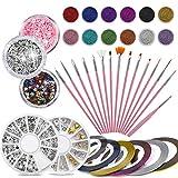 37Pack Nail Art Kit: 15 piezas de pinceles para uñas y 12 mini perlas de caviar y 6 cintas de rayas y 1 diamantes de imitación y 3 macetas con purpurina, colección profesional de artistas de uñas