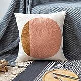 VANNCIO Modern Boho Throw Pillow Cover, Simple Textured Neutral Accent Pillowcase, Decorative Woven Cushion Sham for Bed Couch Sofa, 18x18 inches,1 PC (Blush Pink)