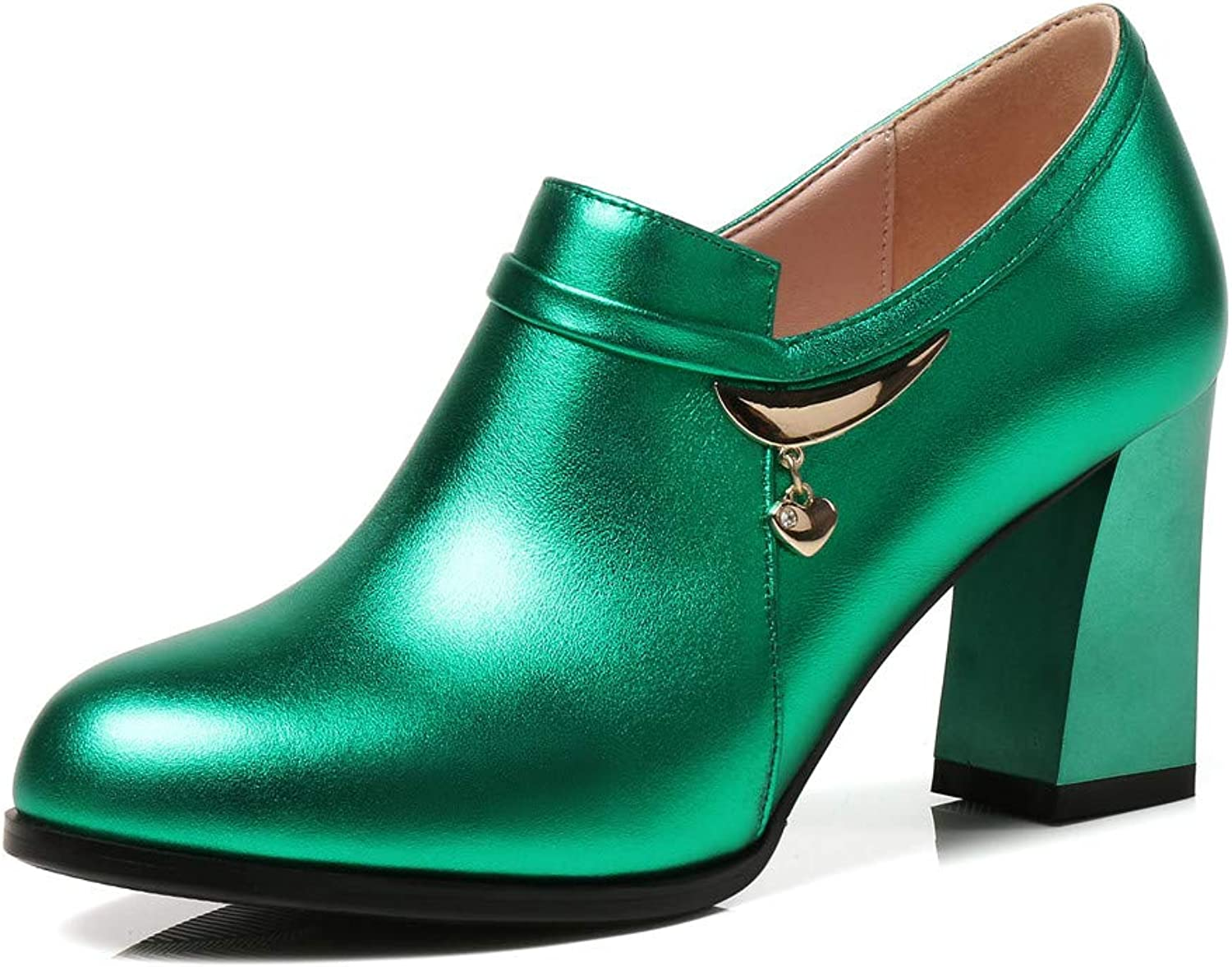 Nine Seven Women's Patent Leather Round Toe Chunky Heel Handmade Glossy and Comfortable Spring Summer Pumps shoes