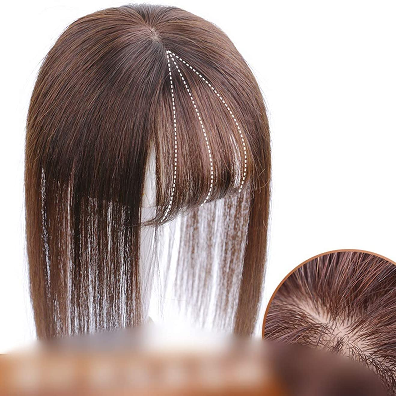 世界記録のギネスブック仕立て屋相互BOBIDYEE 空気前髪かつら女性ストレートヘアエクステンション複合ヘアレースかつらロールプレイングかつらロングとショート女性自然 (色 : [9x14] 30cm natural black)