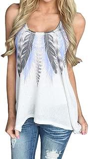Women Vest, Rakkiss Women Plus Size Feather Print Sleeveless T-Shirt Casual O-Neck Tank Tops Vest