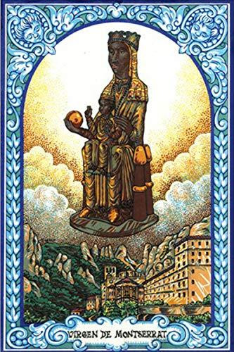 Virgen de Montserrat. Azulejo fabricado artesanalmente para decorar. Cerámica para colgar. Calca cerámica. TORO DEL ORO