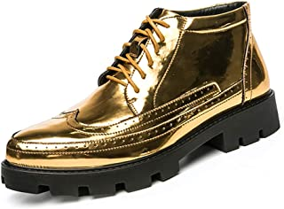 Hommes Lace-Up High Top Chaussures Dress Classique Bullock Oxfords Motif Vintage,d'or,41