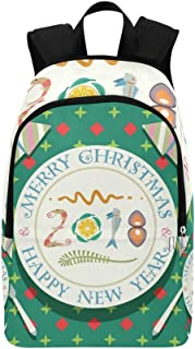 Merry Christmas Happy New Year Casual Daypack Travel Bag College School Backpack for Mens and Women