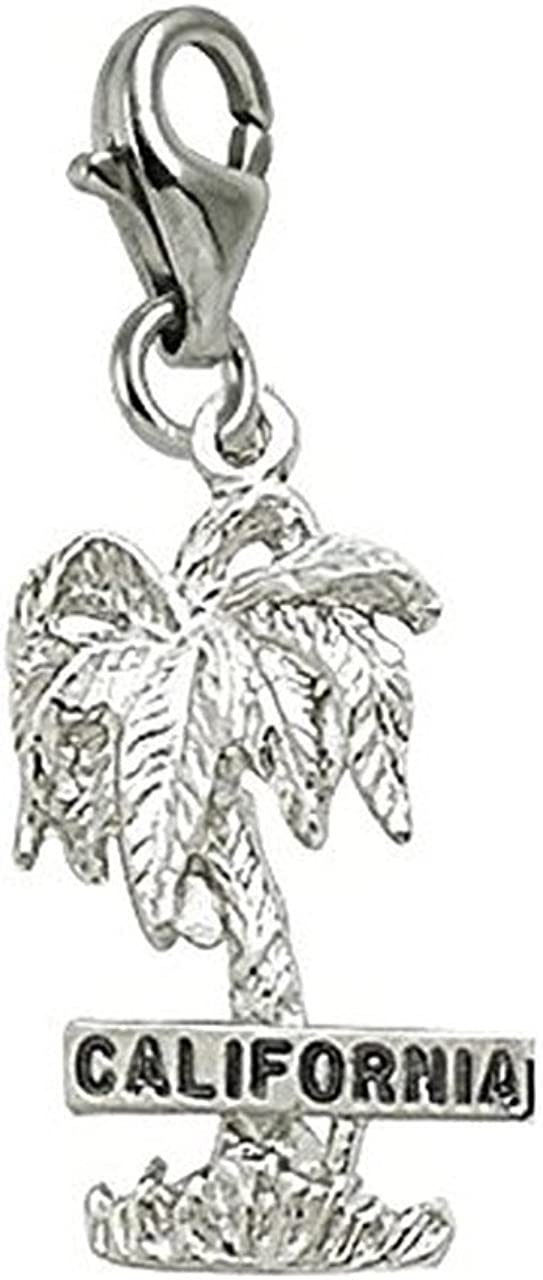 California Palm Charm with Lobster Claw Clasp, Charms for Bracelets and Necklaces