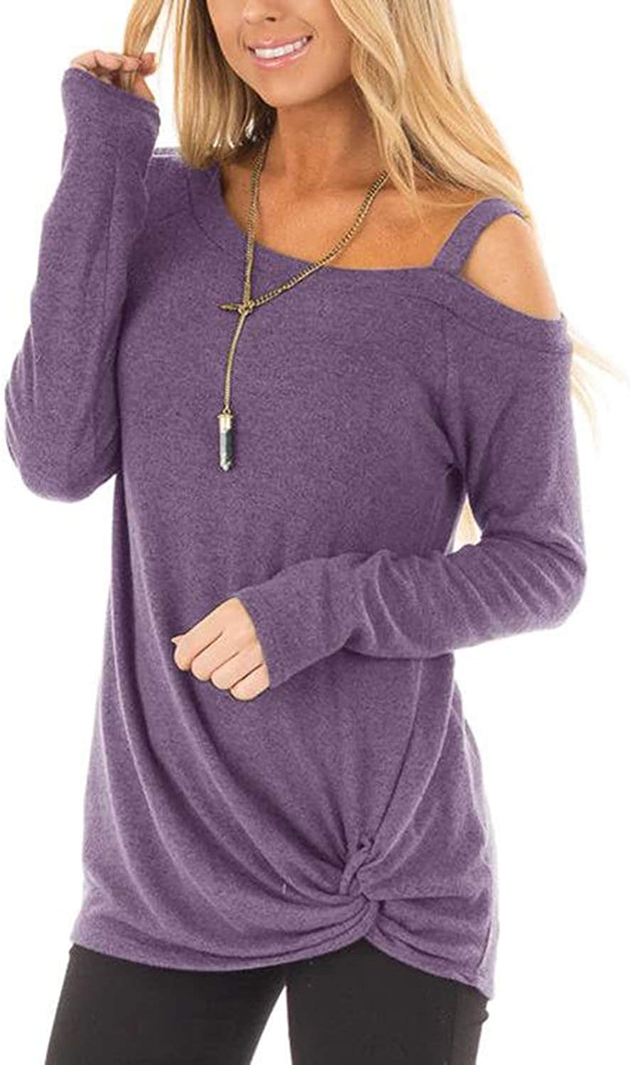 AELSON Women's Cold Shoulder Long Sleeve Shirts Front Twist Knot Casual Tunic Tops