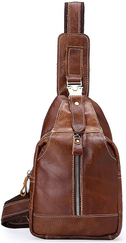 AFCITY Leder Mnner Schulter Crossbody Tasche Tragetasche Sport und Freizeit Tasche Street Shopping Bag Handytasche Sling Brusttasche (Farbe   Braun)