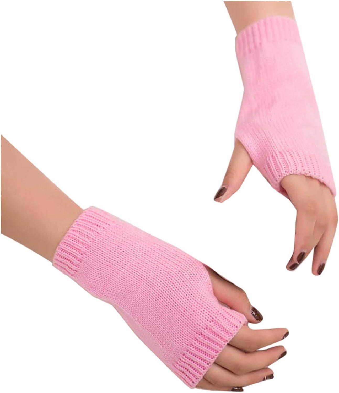 Evangelia.YM Winter Warm Knitted Gloves for Women Girls Elegant Pure Color Wrist Arm Half Hands Fingerless Mitten Glove