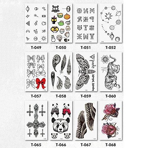 12 Pc Autocollant De Tatouage Temporaire Étanche Fleur Animal Bowknot Autocollant De Tatouage Temporaire Art