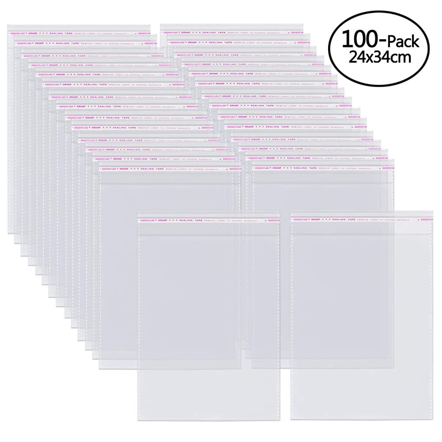 9x13 Inch,100 Pcs Clear Resealable Cello Cellophane OPP Bags Lip and Tape Self Sealing Packaging Bags