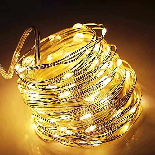 LED Lichterkette [2 Pack] Suright 12M Lichterkette Batterie mit 120 LEDs Wasserdicht Stimmungs Lichterkette Draht für Zimmer, Kinderzimmer,...