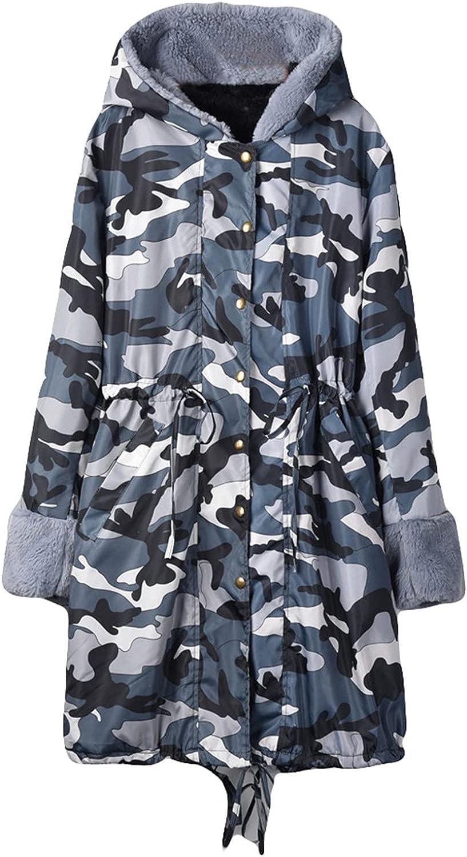 Muxing Women Winter Faux-Fur Coat Warm Shaggy Hooded Jacket Fur Lined Hood Overcoat