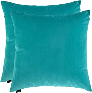 Artcest Set of 2, Cozy Solid Velvet Throw Pillow Case Decorative Couch Cushion Cover Soft Sofa Euro Sham with Zipper Hidden, 18